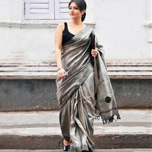 Great Grey Color Soft Silk Designer Saree UK5029