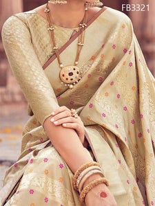 Beige Color Soft Silk Designer Saree UK5038