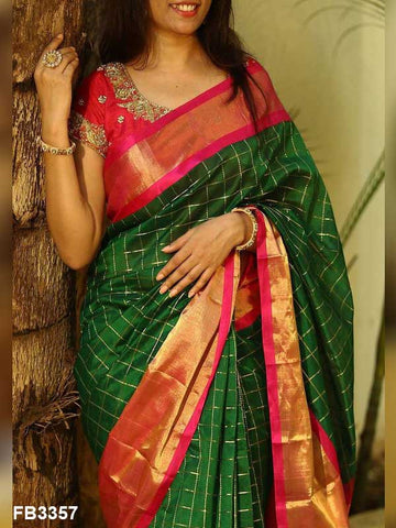 Dark Green Color Soft Silk Designer Saree UK5043