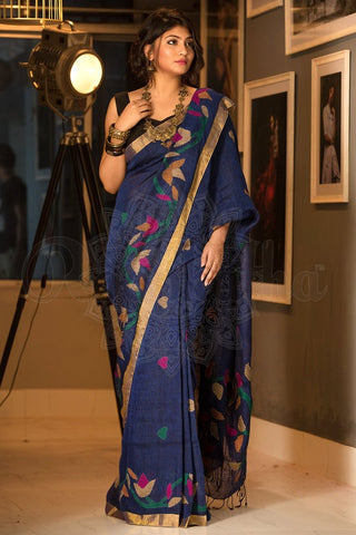 Beautiful Blue Color Soft Silk Designer Saree UK5065