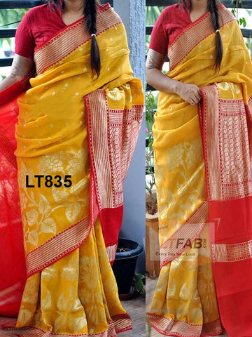 Red Border With Yellow Color Soft Silk Designer Saree UK5068