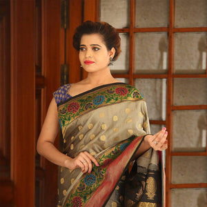 Dark Beige Color Soft Silk Designer Saree UK5073
