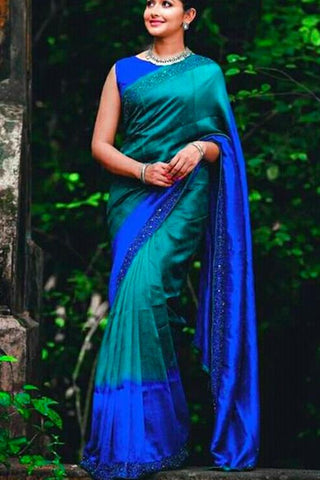 Contrast Color of Blue and Firozi Soft Silk Designer Saree UK5087