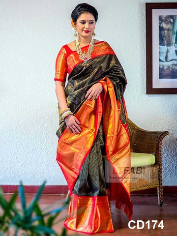 Black and Orange Green Color Soft Silk Designer Saree UK5102
