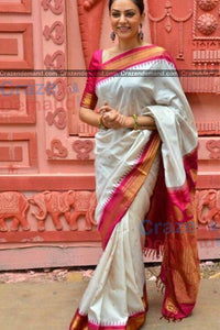 White and Pink Color Soft Silk Designer Saree UK5105