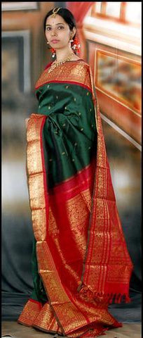 Dark Green and Red Color Soft Silk Designer Saree UK5107