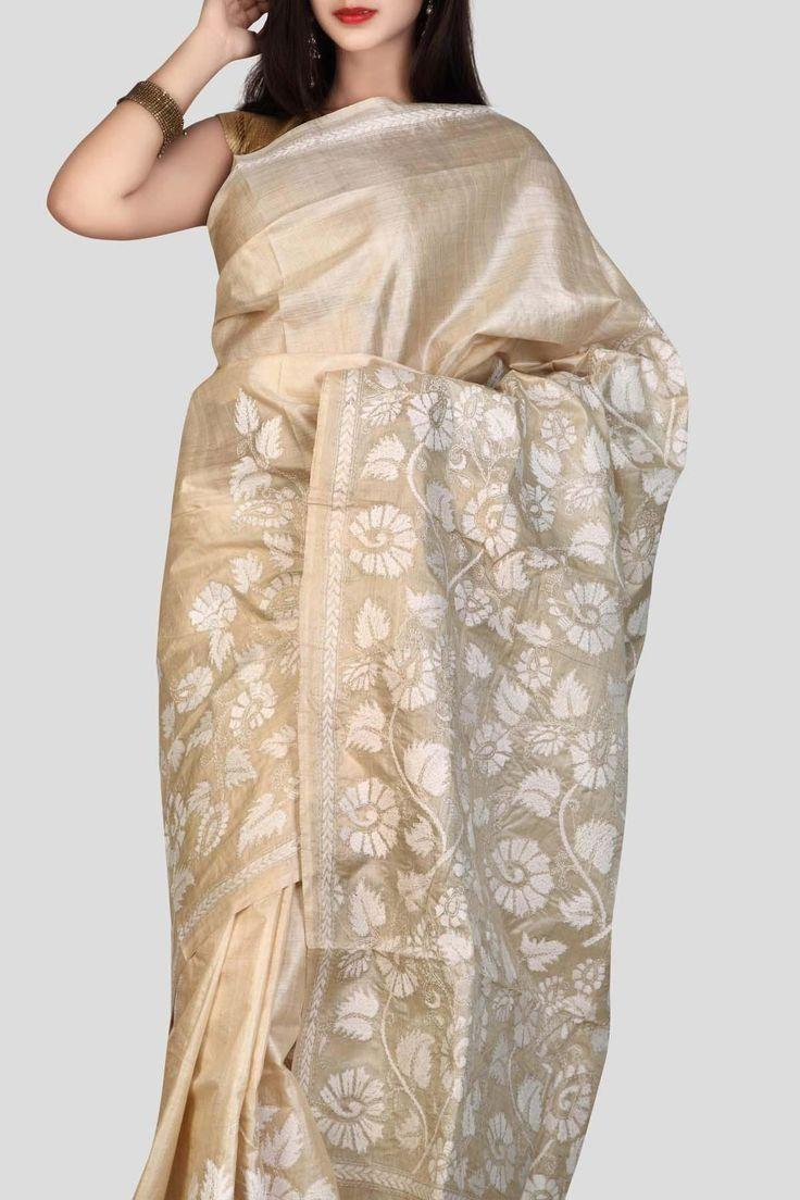 Light Beige Color Soft Silk Designer Saree UK5109