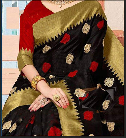 Blacked Colour Soft Silk Designer Saree UK2167