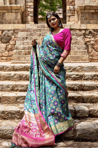 Firozi Color Silk Weaving Patola with Zari border and Rich Pallu With Contrast Blouse
