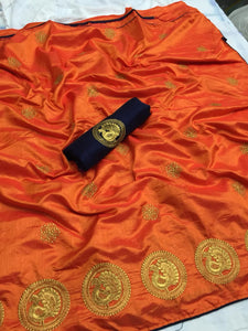 Embroidered Sana Silk Saree MDS-07-Orange