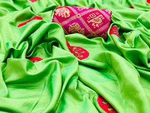 Embroidered Paper Silk Saree MDS-05-Parrot