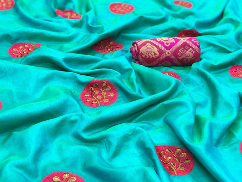 Embroidered Paper Silk Saree MDS-05-Rama