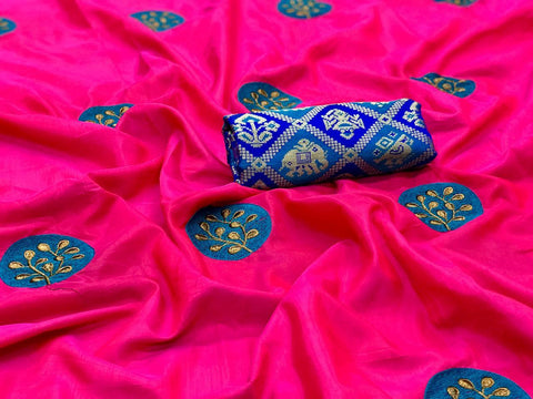 Embroidered Paper Silk Saree MDS-05-Pink