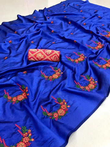 Embroidered Paper Silk Saree MDS-04-Blue