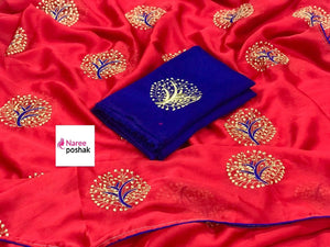 Embroidered Chiffon Saree MDS-06-Red