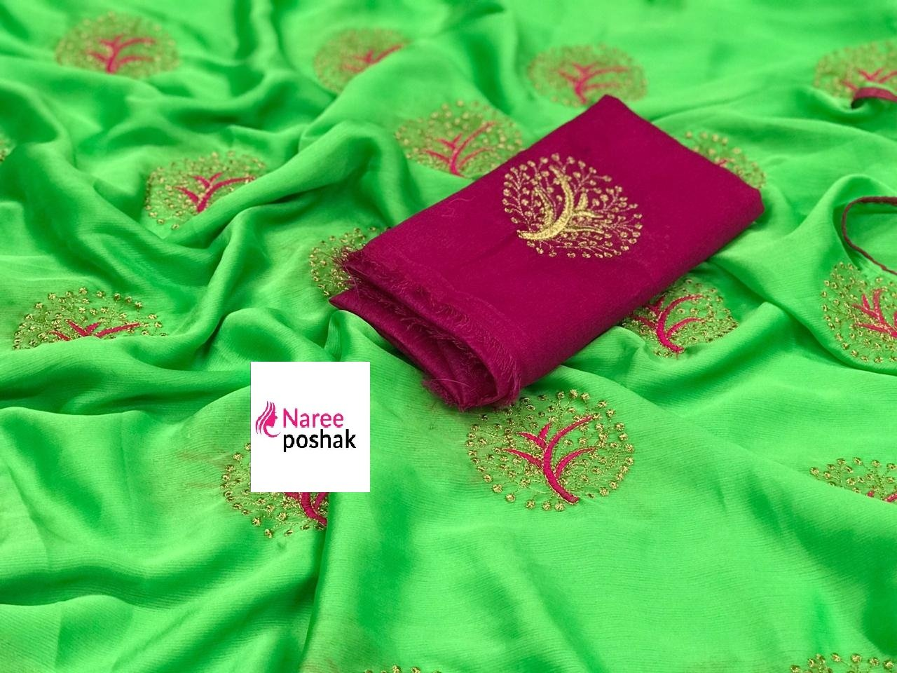 Embroidered Chiffon Saree MDS-06-Parrot