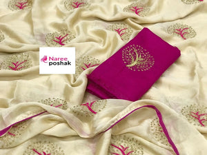 Embroidered Chiffon Saree MDS-06-Golden White
