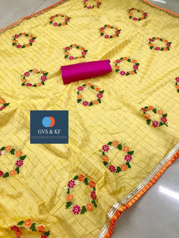 Embroidered Chanderi Cotton Checks Saree MDS-10-Yellow