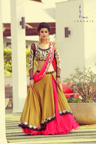 Designer Embroidered Mirror Semi-stitched Party Wear Lehenga Choli- Yellow Mirror