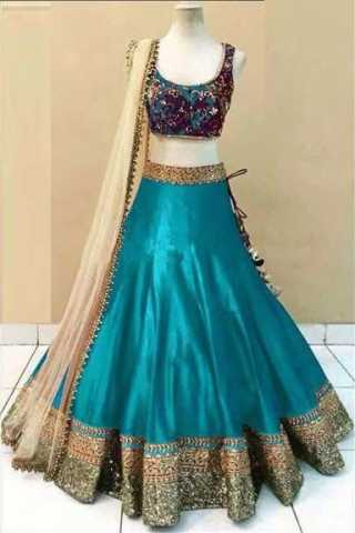 Embroidered Semi-stitched Party Wear Lehenga Choli- Beauty Firozi