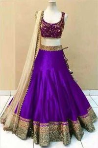 Embroidered Semi-stitched Party Wear Lehenga Choli- Beauty Purple