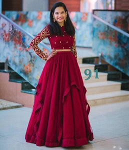 New Look Maroon Color Embroidered Semi-stitched Lehenga Choli