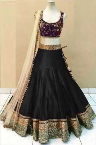 Embroidered Semi-stitched Party Wear Lehenga Choli- Beauty Black