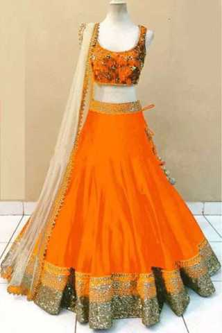 Embroidered Semi-stitched Party Wear Lehenga Choli- Beauty Orange