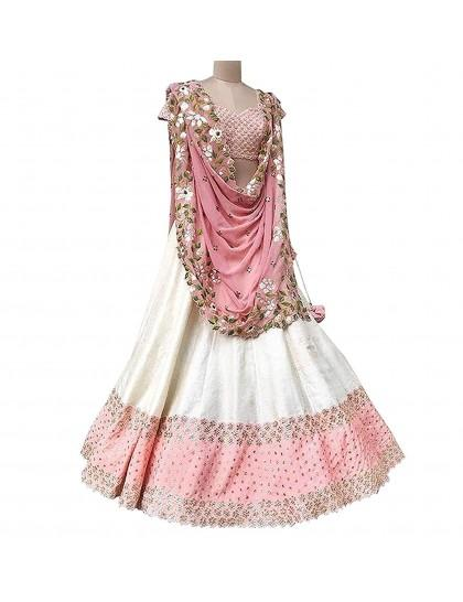 New Look Party Wear Peach Colour Embroidered Lehenga Choli