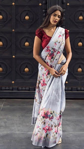 Linen Digital Printed Saree MS-1268
