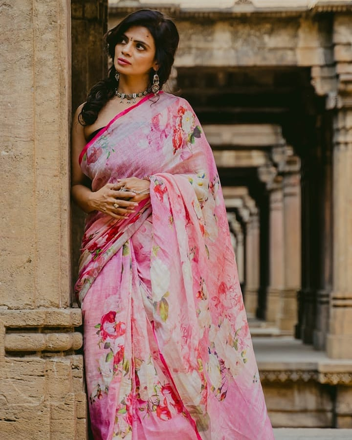 Linen Digital Printed Saree MS-1311