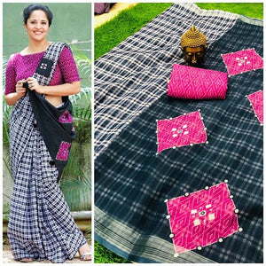 Checks Linen Digital Printed Saree MS-1501