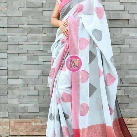 Pink and Black Heart Linen Digital Printed Saree MS-1506