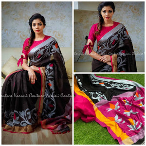Flower Border Linen Digital Printed Saree MS-1508