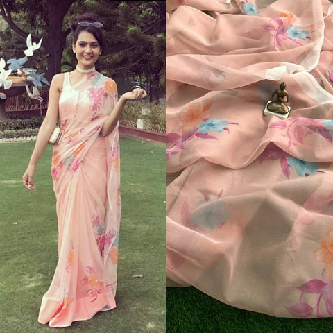 Peach Color Flower Linen Digital Printed Saree MS-1509