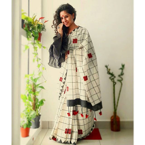 Checks with Red Flower Linen Digital Printed Saree MS-1514
