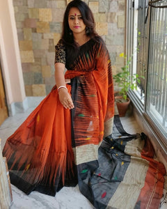 Orange and Black Variation Linen Digital Printed Saree MS-1516
