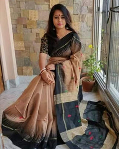 Black and Brown Color Linen Digital Printed Saree MS-1523