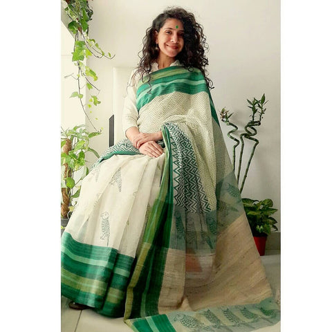Parrot Print White Color Linen Digital Printed Saree MS-1524