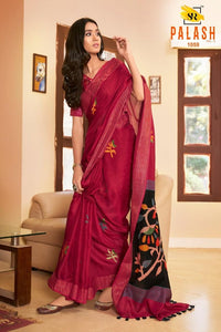 Red Color Beautiful Flower Linen Digital Printed Saree MS-1535