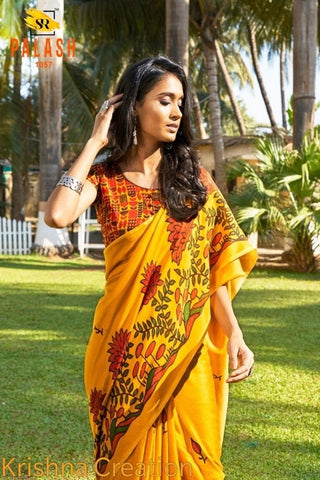 Dark Yellow Color Linen Digital Printed Saree MS-1540