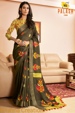 Dark Mahendi Green Design Linen Digital Printed Saree MS-1543