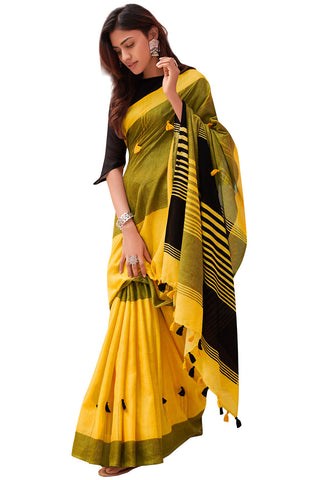 Yellow Color Lining Designer Linen Digital Printed Saree MS-1547