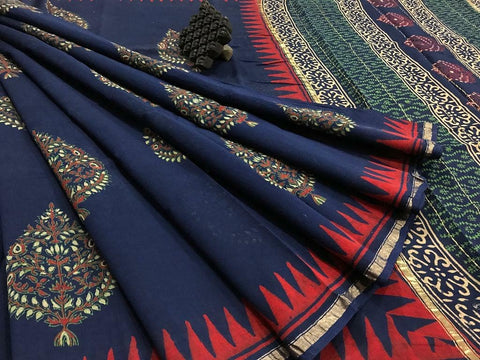 Blue Color Designer Butta Linen Digital Printed Saree MS-1567