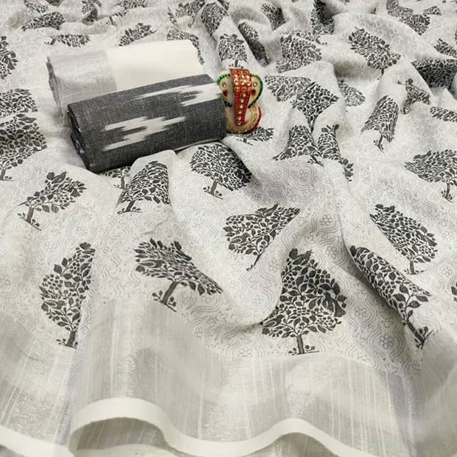 Print of Tree Linen Digital Printed Saree MS-1581