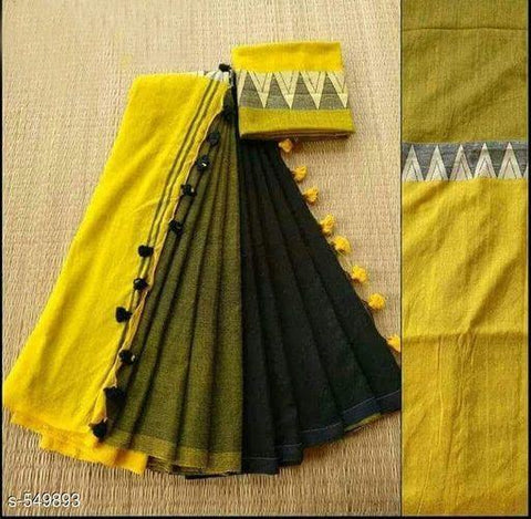 Yellow Color Linen Digital Printed Saree MS-1589