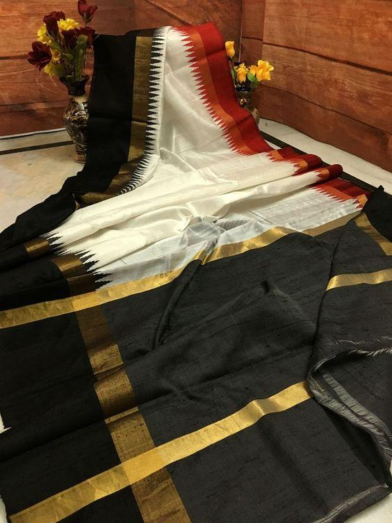 Black Color Linen Digital Printed Saree MS-1591