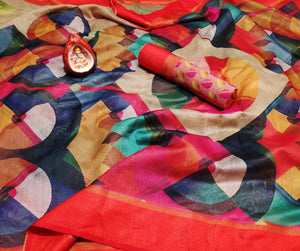 Colorful Italian Bindi Silk Digital Printed Saree MS-1601