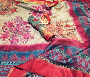 Flower Port Designer Italian Bindi Silk Digital Printed Saree MS-1613