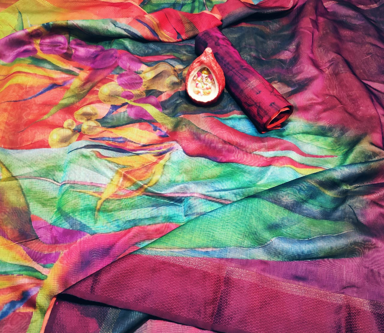 Leaf Designer Multicolor Italian Bindi Silk Digital Printed Saree MS-1614